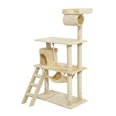 "55"" Cat Scratching Tree Kitten Climbing Step Sisal Post Activity Center"