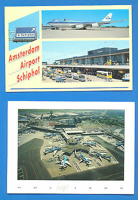 7 Large Postcards Of Airports.brussels (2),stuttgart,hong Kong (2),amsterdam (2)