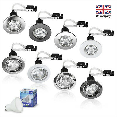 6 x LED GU10 240V Mains Fixed or Tilt Recessed Ceiling Spotlights Downlights NEW