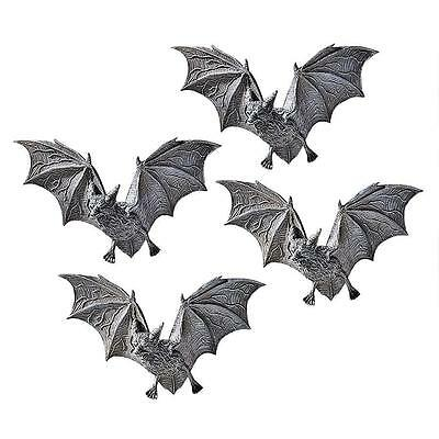 Set of 4: Vampire Bats Wall Plaque Sculpture Halloween Decor Scary Creatures
