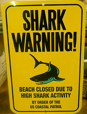 "B GRADE Shark Warning Sign,12X18"" Slight Imperfections SOLD AS IS"