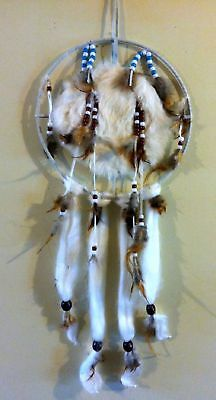 """Beautiful 10 x 28"""" Rabbit Fur Beaded Leather Dream Catcher with Feathers"""