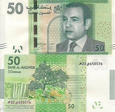MOROCCO 50 Dirhams Banknote World Money UNC Currency Africa Note p75 2012 Bill