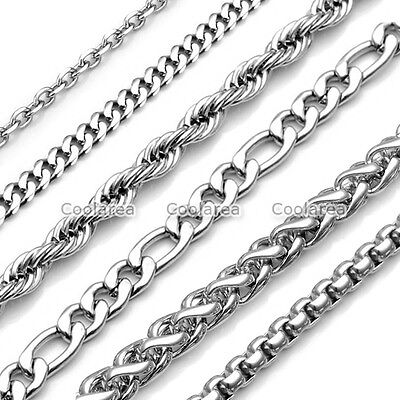 Men's Boys Chain 1.5-9mm Silver Stainless Steel Twist Curb Link Necklace Jewelry