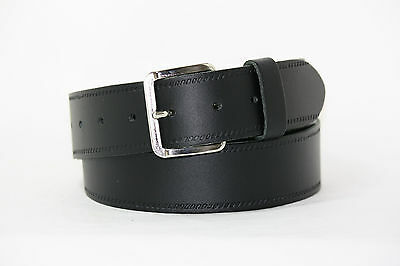 "Childrens/Boys Genuine Leather Belt 1 1/2"" (40mm) BLACK ***EXTRA SMALL***"