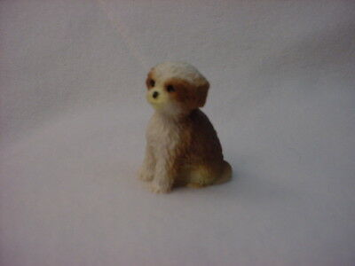 SHIH TZU tan brown puppy TiNY DOG Figurine HAND PAINTED MINIATURE Statue MINI