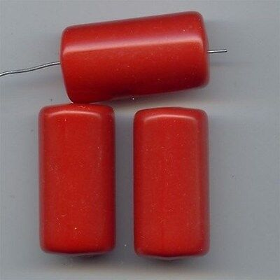 4 VINTAGE RED ACRYLIC 39x20mm. LARGE SMOOTH TUBE BEADS 6621