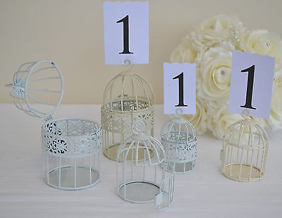 Shabby chic small birdcages wedding table numbers decoration favours centrepiece