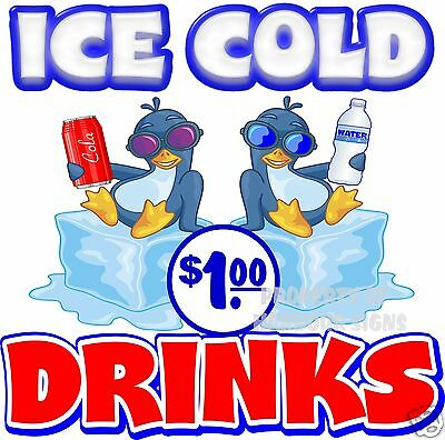 "Ice Cold Drinks $1 price Decal 14"" Concession Restaurant Food Truck Sticker"