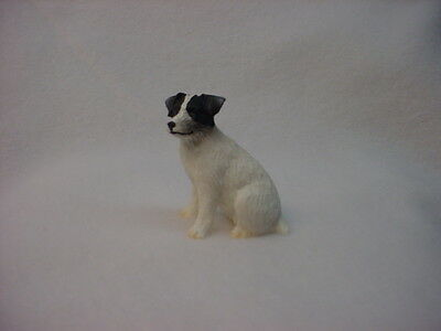 JACK RUSSELL rough dog TiNY FIGURINE black white puppy HAND PAINTED mini statue