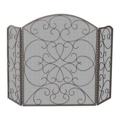 Uniflame 3 Fold Bronze Screen With Ornate Design - S-1600