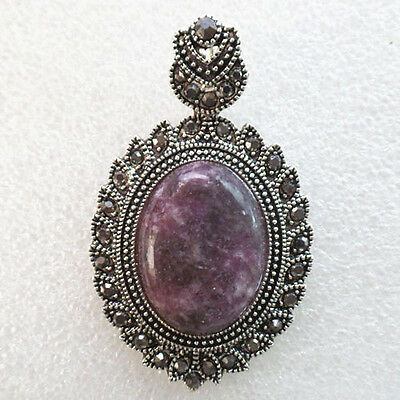 Beautiful Purple Lepidolite & Tibetan Silver Pendant Bead (Send Randomly) D7676