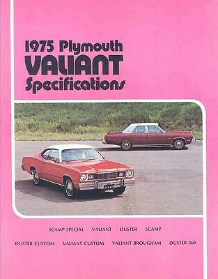 1975 Plymouth Valiant Specifications Brochure Canada my4891