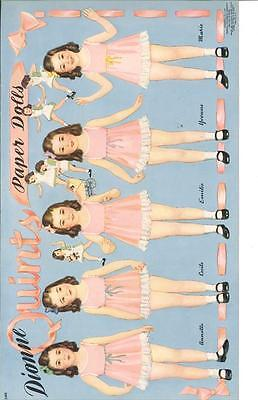 Vintage Uncut 1940 Dionne Quints Paper Dolls Hd Laser Reproduction~Lo Pr~Hi Q