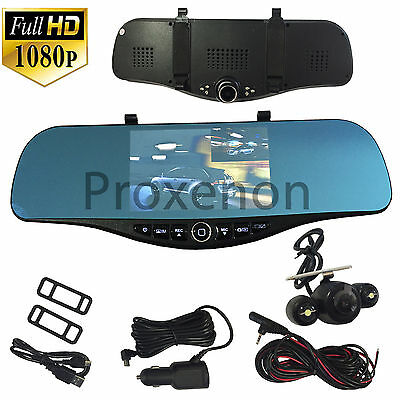 NEW 1080P HD Rearview Blue Tint Mirror Front/Rear Camera Recorder For Vehicles