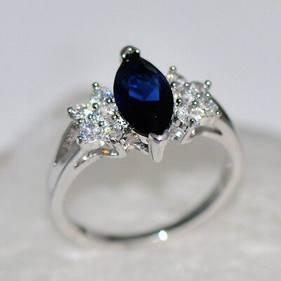 Size5-9 Blue Sapphire CZ Wedding Ring Women's 10Kt White Gold Filled Engagement