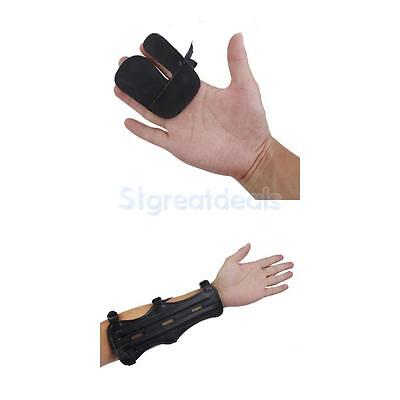 Cow Leather Shooting Bow Archery Black Protection Finger Tab Guard + Arm Guard