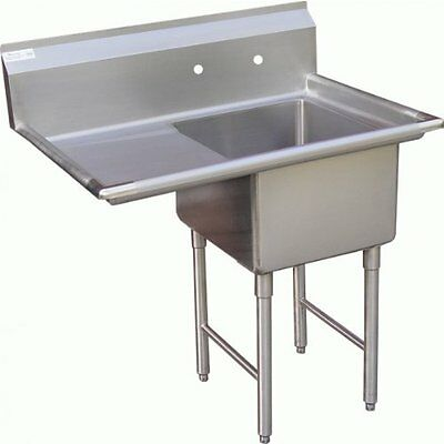 "PATRIOT 1 COMPARTMENT S/S SINK w/19"" DRAINBOARD ON LEFT, Stainless Steel"