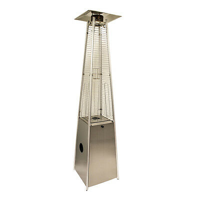 Stainless Steel LP Gas Patio Heater Real Flame Pyramid Freestanding
