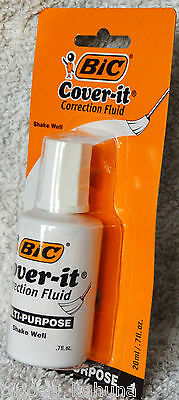 Bic Cover it  Wite White Out Correction Fluid 0.7oz