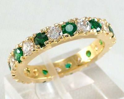 Green&White CZ Eternity Ring Wedding Band 10KT Yellow Gold Filled Jewelry Sz 6-9