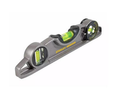 "STANLEY 10"" 250mm Magnetic Torpedo Pocket Boat 3 Vial Spirit Level STA043609"