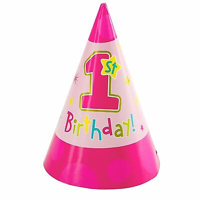8 x 1st BIRTHDAY CONE HATS PARTY GIRLS PRINCESS HUGS & STITCHES NEW PINK COLOUR