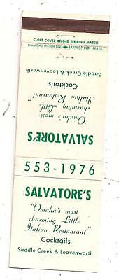 Salvatore's Italian Restaurant Saddle Creek & Leavenworth Omaha NE Matchcover