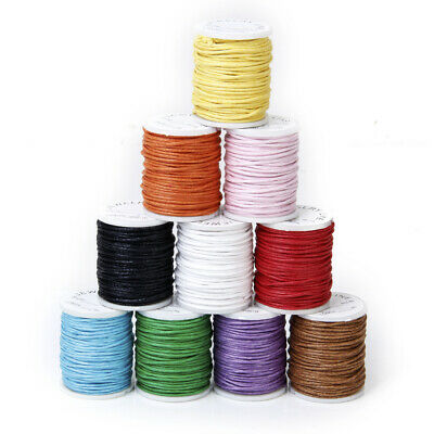 10x Mixed Color 8M Waxed Cotton Cord String 1mm for Macrame Beading DIY Making