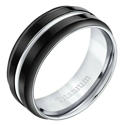 Modern Style comfort fit Mens 8mm Black Titanium Ring Sizes 8 to 13