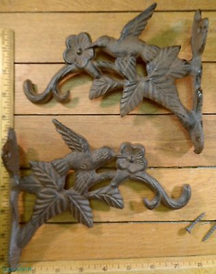 set of 2 HUMMING BIRD PLANT HOOKS cast iron 6x7-1/2 hanging wall hanger deck