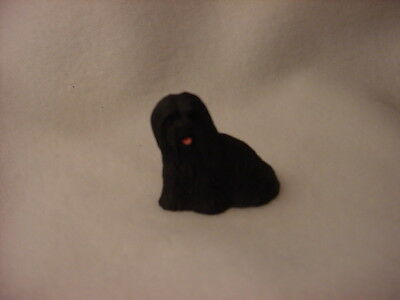 LHASA APSO black puppy TiNY FIGURINE Dog HANDPAINTED MINIATURE Mini Resin Statue
