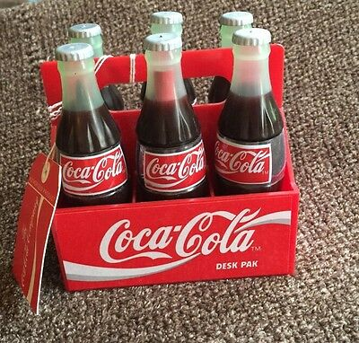 1995 Coca Cola Desk 6-Pak Vintage Office Supplies Inside Small Bottles
