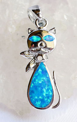 Cute Blue-Green Fire Opal 925 Sterling Silver Cat Pendant~Silver Chain~Jewellery