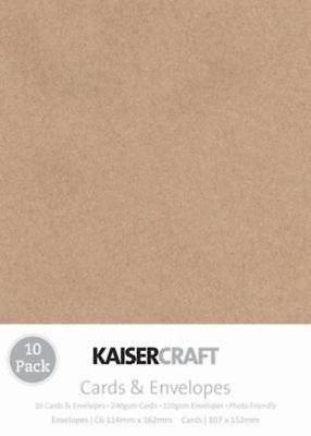 10 Blank Kraft Cards and Envelopes C6 FREE SHIPPING