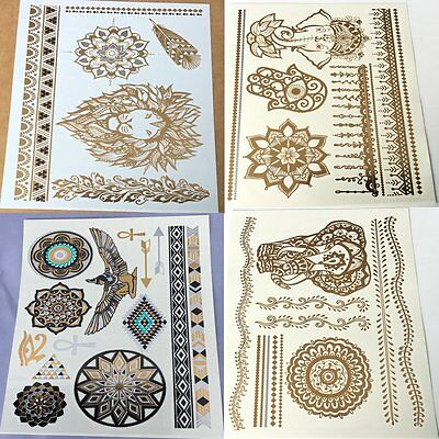 hot 4 sheets Temporary Metallic Tattoo gold silver Waterproof Flash Insp