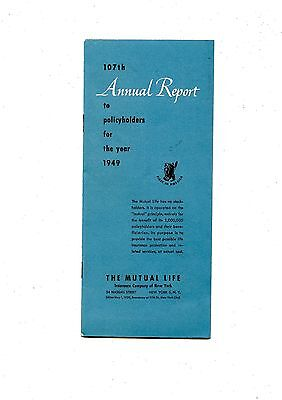 Old annual report  THE MUTUAL LIFE insurance 1949