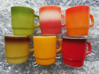 Set of 6 Old Retro Fire King Milk Glass Coffee Mugs Solid Colors