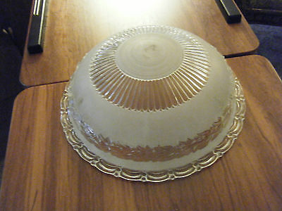 Vintage Frosted & Clear Glass Leaf Trim Replacement Ceiling Light Fixture Shade