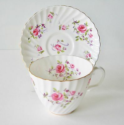 Beautiful Adderley Fragrance Teacup And Saucer Swirled Pink Roses Purple Flowers