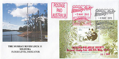 Australia China joint issue Panda mini sheet overprint MILDURA 2013 stamp fair