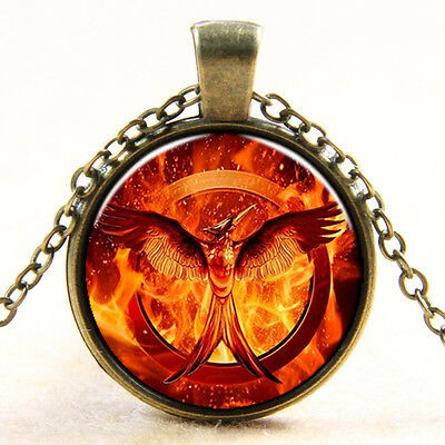 The Hunger Games Mockingjay Bird Glass Art Pendant Charm Necklace Chain