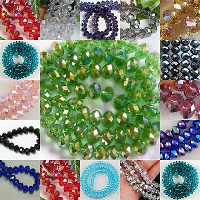 4mm148PC 6mm98PC 8mm70PC Rondelle Bicone Glass New FacetedCrystal Jerelry Beads