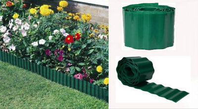 15cmx 30m GREEN PLASTIC GARDEN GRASS LAWN EDGE EDGING BORDER FENCE WALL PATH NEW