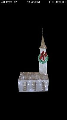 72 Inch LIGHTED CHRISTMAS CHURCH OUTDOOR YARD DECOR NEW IN BOX