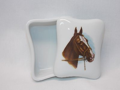 Brown Horse Dresser or Trinket Box Porcelain Fired Head Decal on Top
