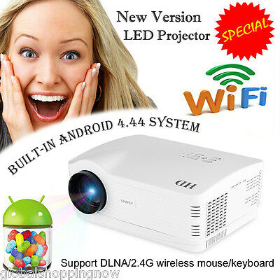 5000 Lumens WIFI Android 4.4 LED 3D Smart TV HDMI USB Theater Projector 1280*768