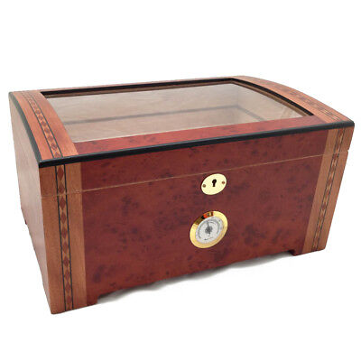 200 ct LUXURY CLEAR TOP WOOD CIGAR HUMIDOR BURLWOOD