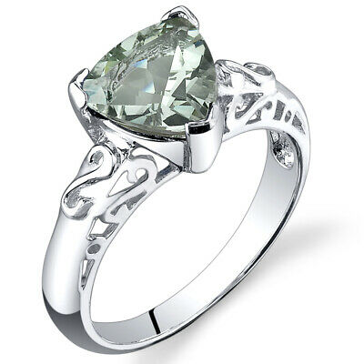 2.50 cts Trillion Cut  Green Amethyst Ring Sterling Silver