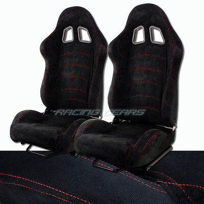 2x For Mazda Toyota T1 Style Reclining Black Suede Race Seat + Adjustable Slider
